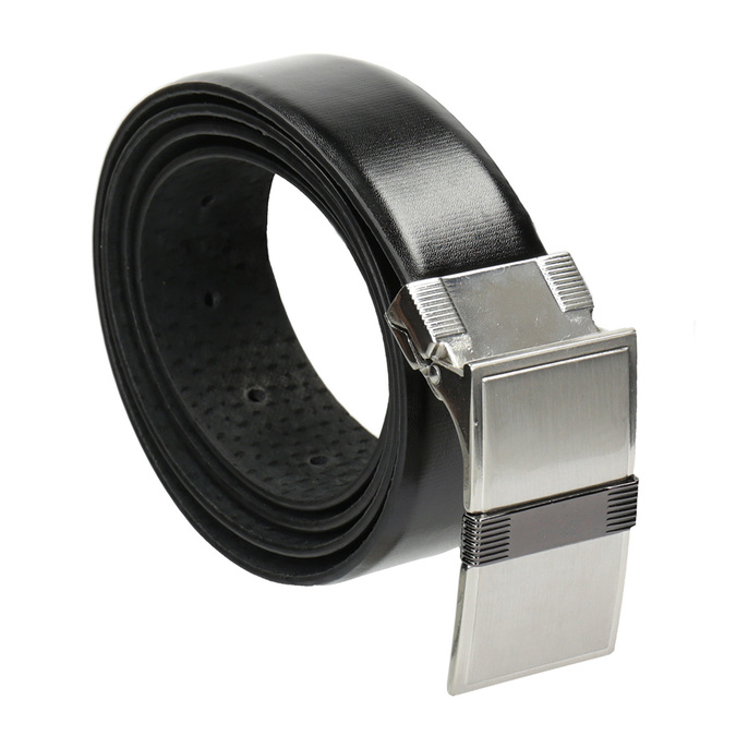 Men's Leather Belt with Square Buckle bata, black , 954-6140 - 13