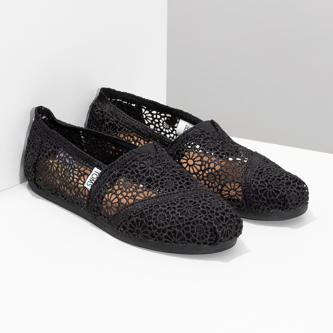 Lace slip-ons toms, black , 519-6100 - 26