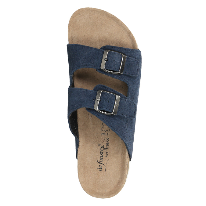 Men's leather slippers, blue , 873-9610 - 19