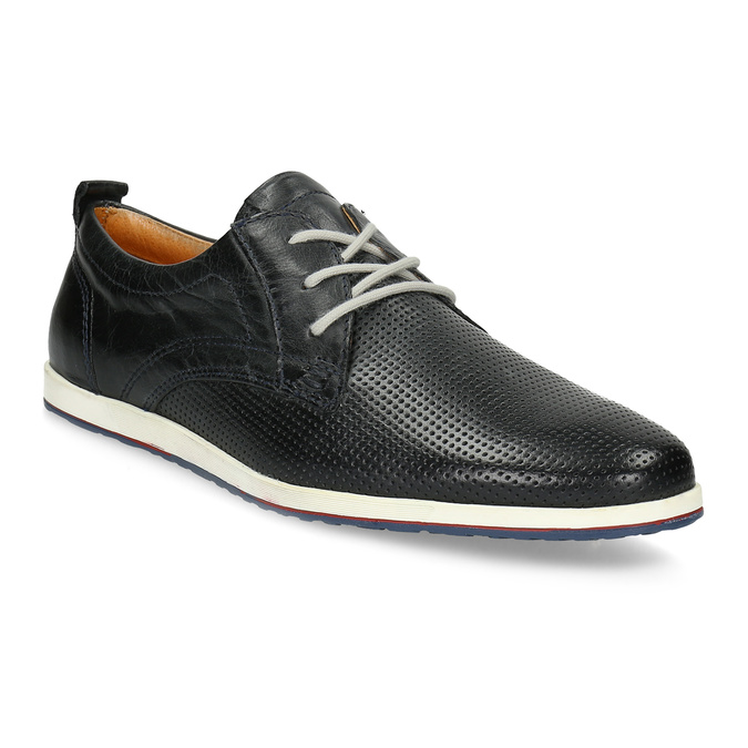 Casual leather low shoes bata, black , 824-9124 - 13
