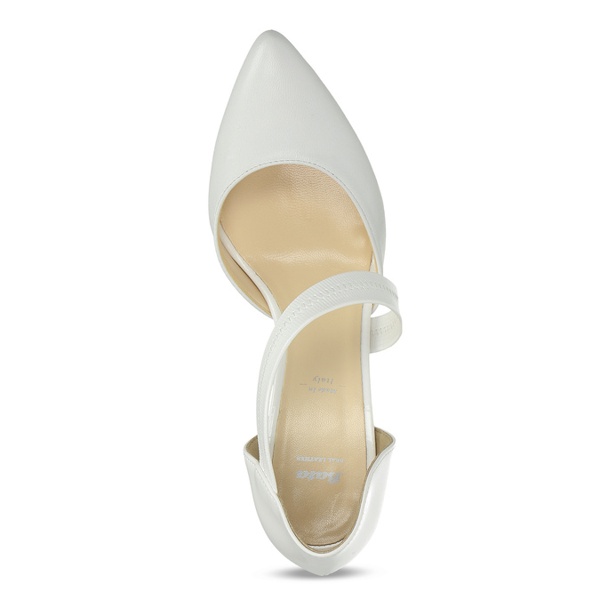 Pointed white pumps with an instep strap, white , 724-1904 - 17