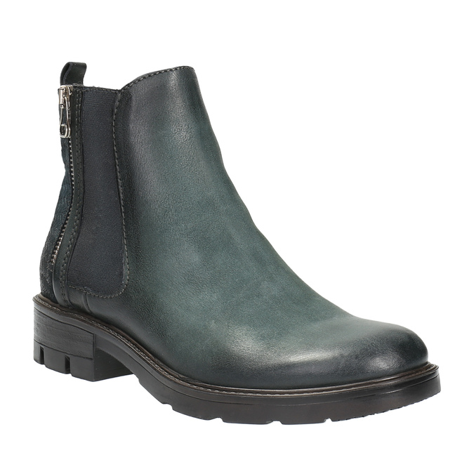 Leather ankle boots with a distinct sole bata, turquoise, 596-9615 - 13