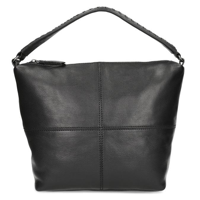 Leather handbag with a detachable strap, black , 964-6233 - 26