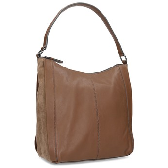 Brown leather handbag bata, brown , 964-3254 - 13