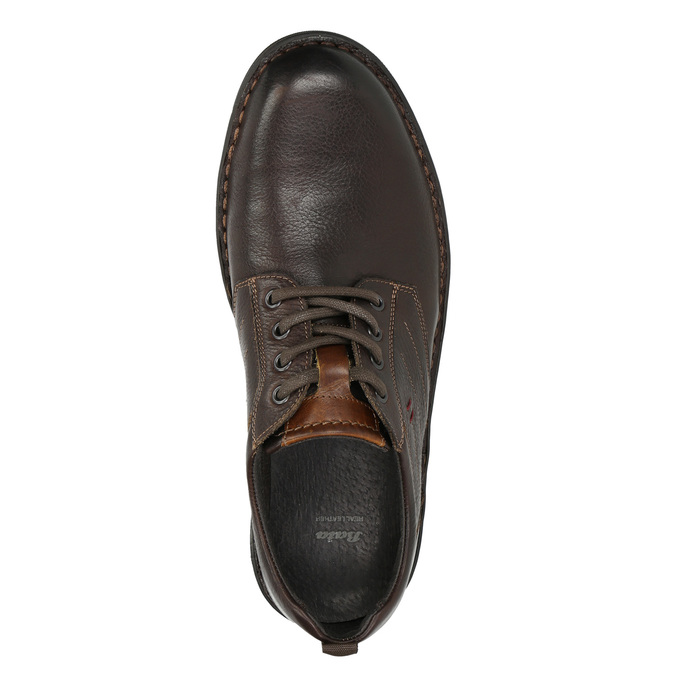 Casual leather shoes on a contrasting sole bata, brown , 824-4698 - 26
