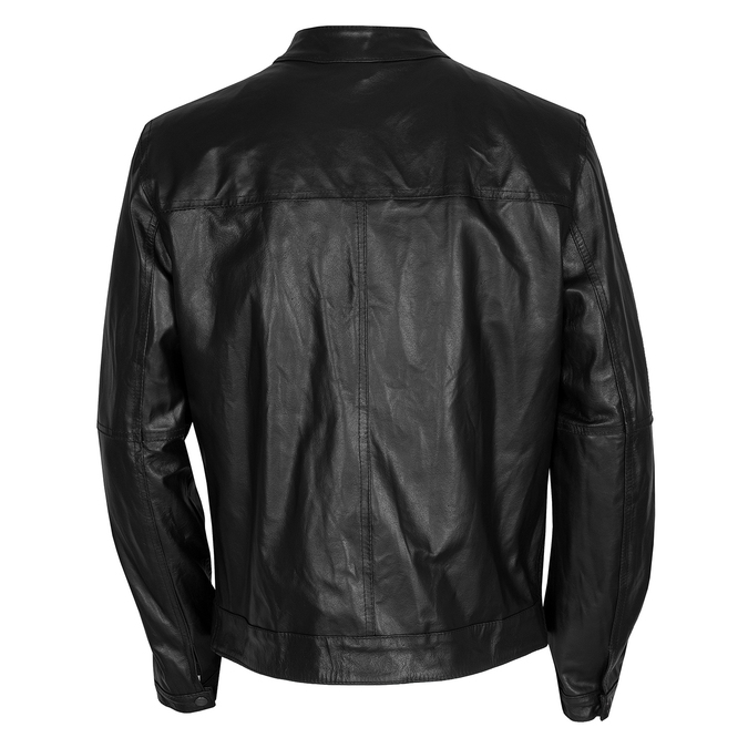 Leather jacket with trendy quilting, black , 974-6142 - 26