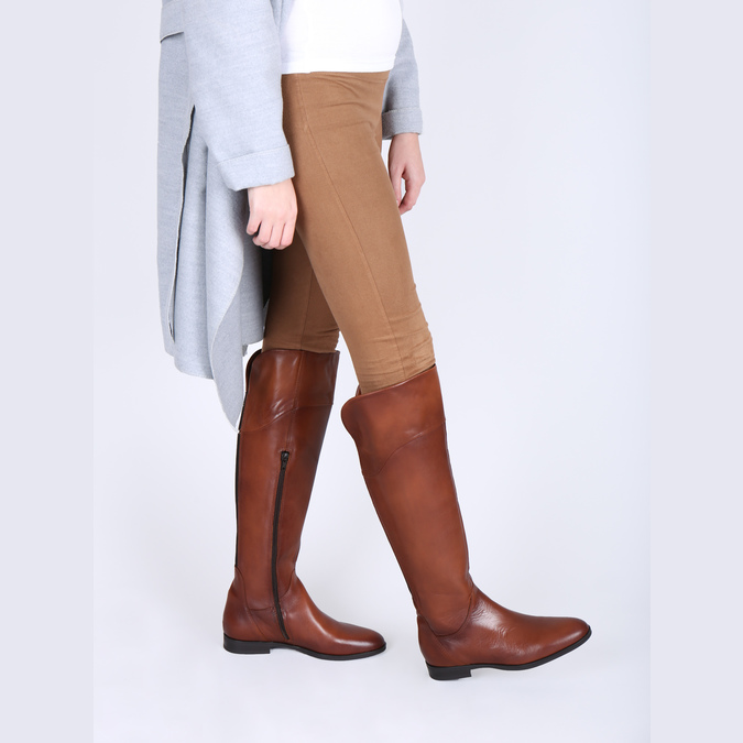 Brown leather knee-high boots bata, brown , 594-4605 - 18