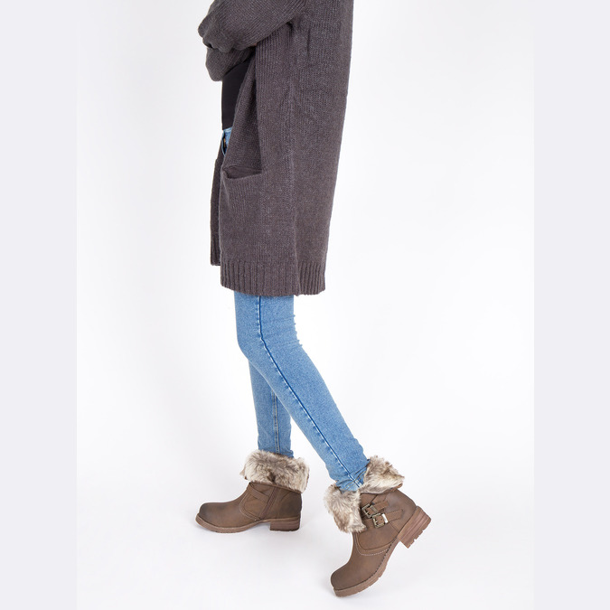 Ladies' ankle boots with fur bata, brown , 591-4601 - 18