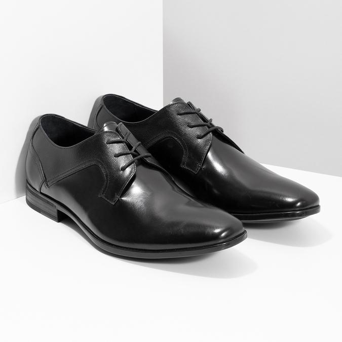 Men's leather shoes bata, black , 824-6758 - 26