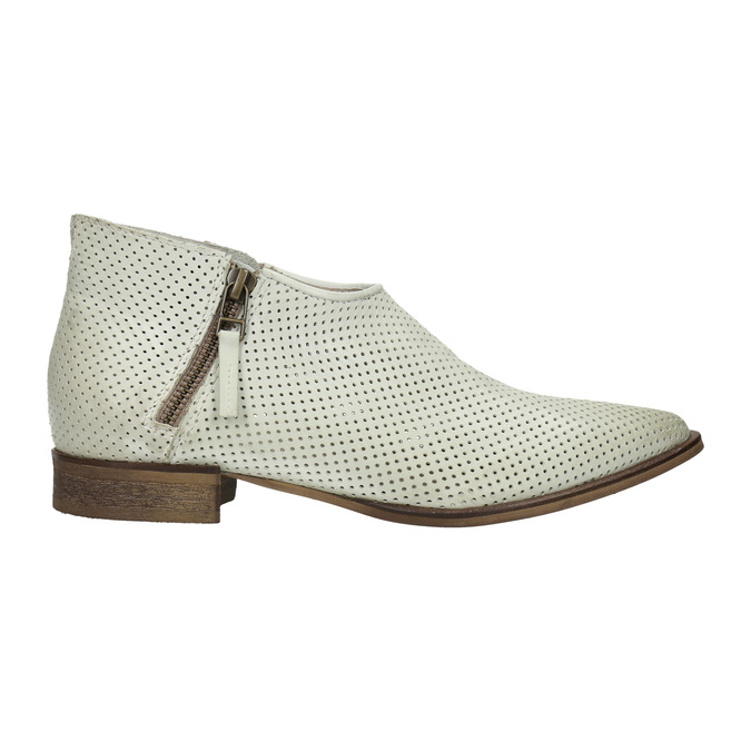 Leather high ankle boots with perforations bata, white , 596-1647 - 15
