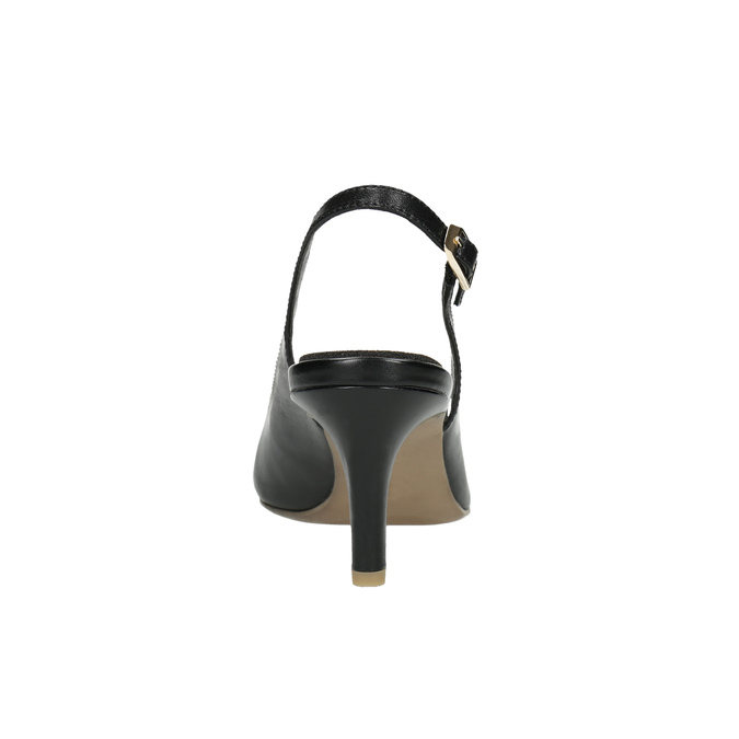 Leather pumps in the Sling-back style pillow-padding, black , 624-6638 - 17