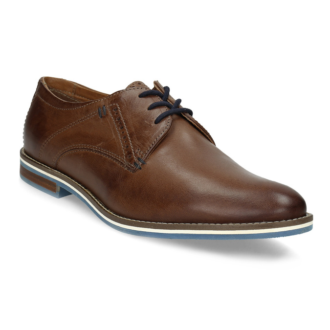 Brown leather shoes with striped sole bata, brown , 826-4790 - 13