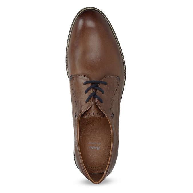 Brown leather shoes with striped sole bata, brown , 826-4790 - 17