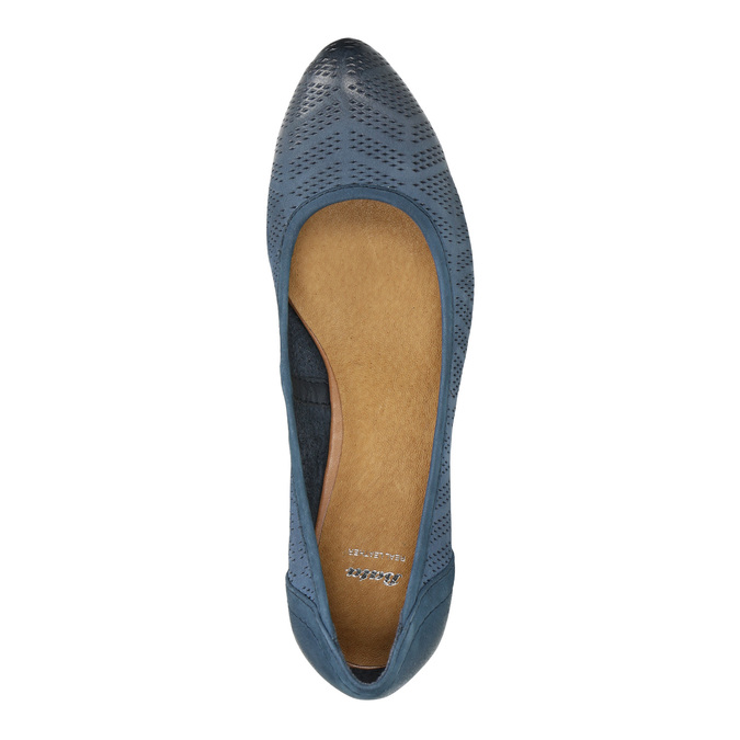 Perforated platform pumps bata, blue , 626-9638 - 19