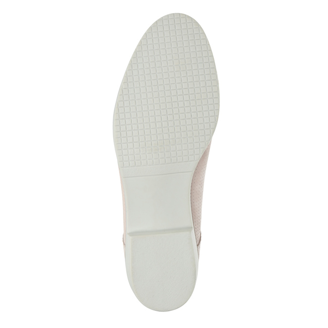 Leather shoes with perforations bata, pink , 523-5600 - 26