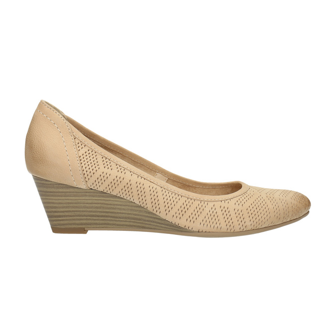 Leather pumps with a wedge heel bata, beige , 626-8638 - 15