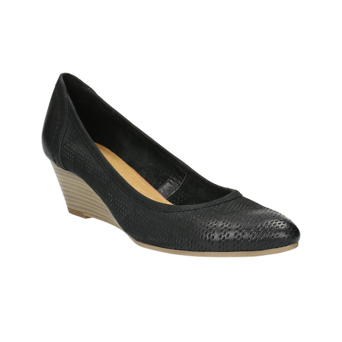 Leather pumps with a wedge heel bata, black , 626-6638 - 13