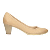Leather pumps with a low heel bata, beige , 626-8639 - 26