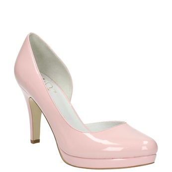 Pink leather pumps with cut-outs insolia, pink , 728-5637 - 13