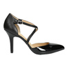 Leather pumps with straps across instep insolia, black , 728-6641 - 15