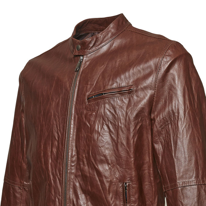 Women's leather jacket with trendy quilting, brown , 974-4142 - 16