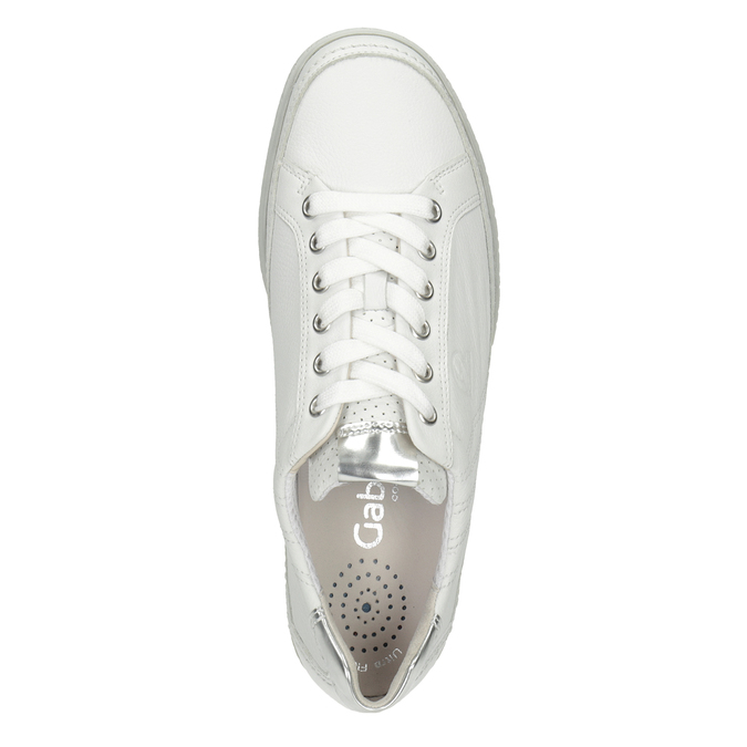 White leather sneakers gabor, white , 626-1204 - 15