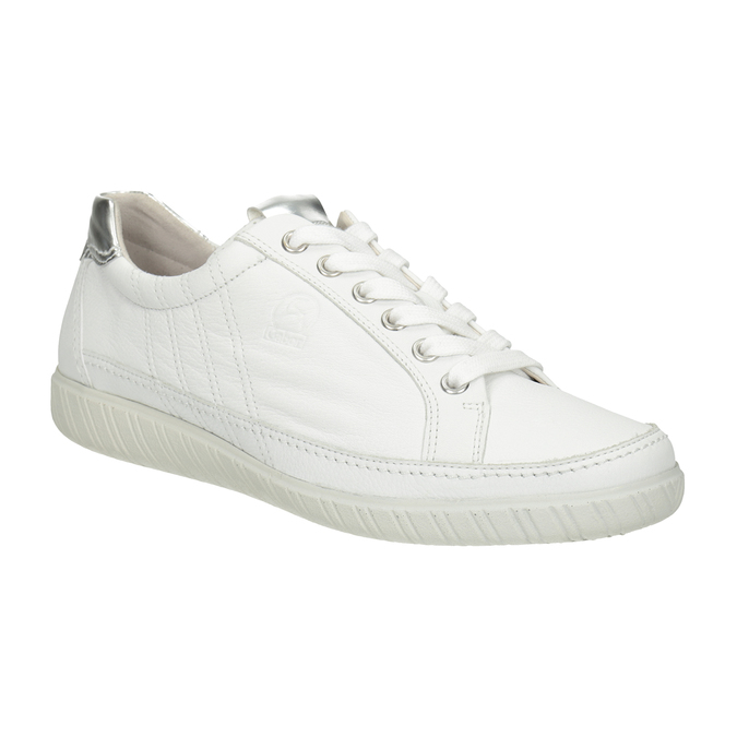 White leather sneakers gabor, white , 626-1204 - 13