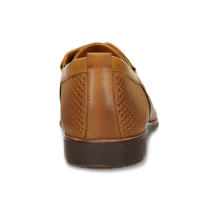 Casual leather shoes with perforations bata, brown , 856-3601 - 15