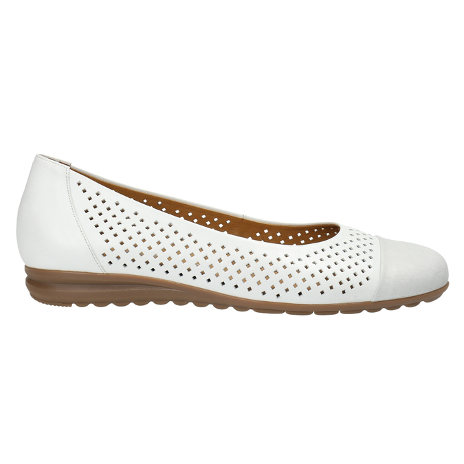 Leather ballet pumps width G gabor, white , 526-1200 - 15