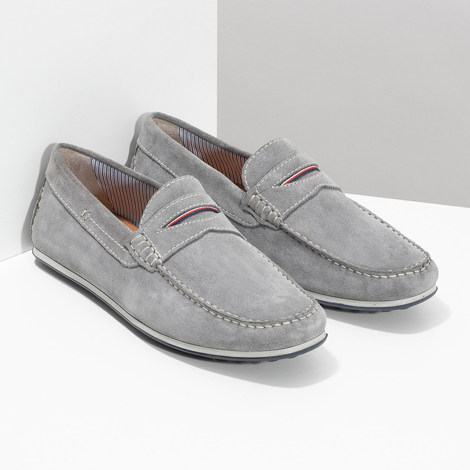 Men's brushed leather moccasins bata, gray , 853-2614 - 26