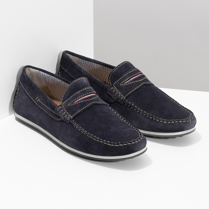 Brushed leather moccasins bata, blue , 853-9614 - 26