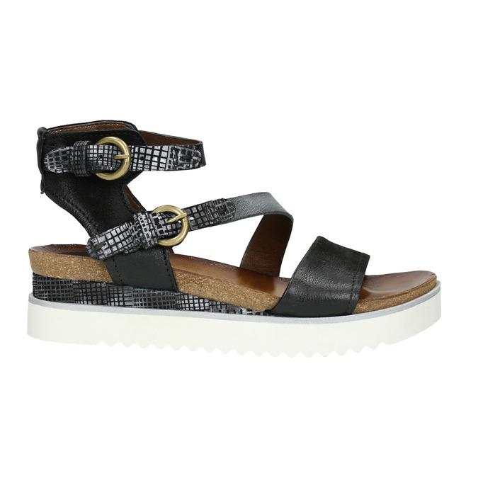 Ladies' leather flatform sandals bata, black , 666-6604 - 15