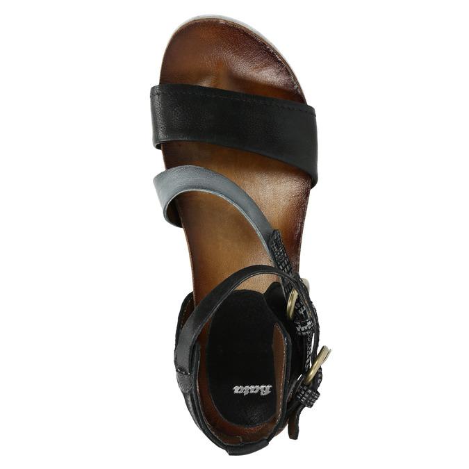 Ladies' leather flatform sandals bata, black , 666-6604 - 19