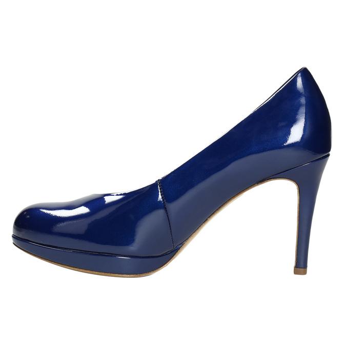 Patent leather pumps hogl, blue , 728-9400 - 26
