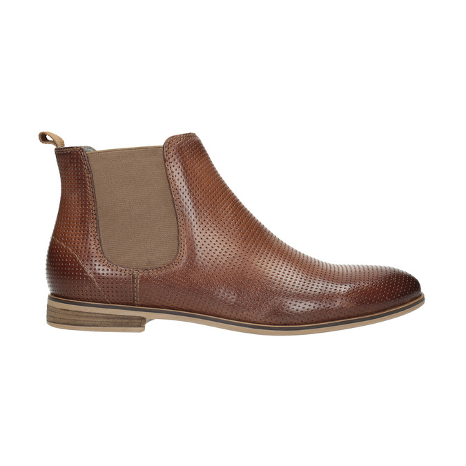 Leather Chelsea ankle boots with perforations bata, brown , 596-4644 - 15