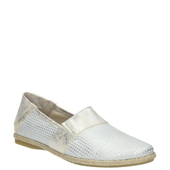 Ladies' leather slip-ons bata, white , 516-1604 - 13
