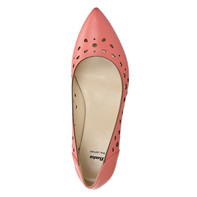 Pointed leather ballet pumps bata, pink , 524-0604 - 26