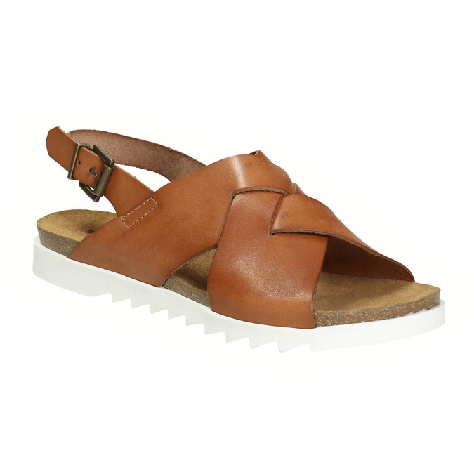 Ladies' interlacing leather sandals weinbrenner, brown , 566-4628 - 13