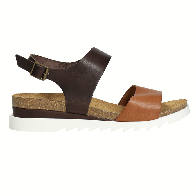 Leather sandals with a white sole weinbrenner, brown , 566-4629 - 15