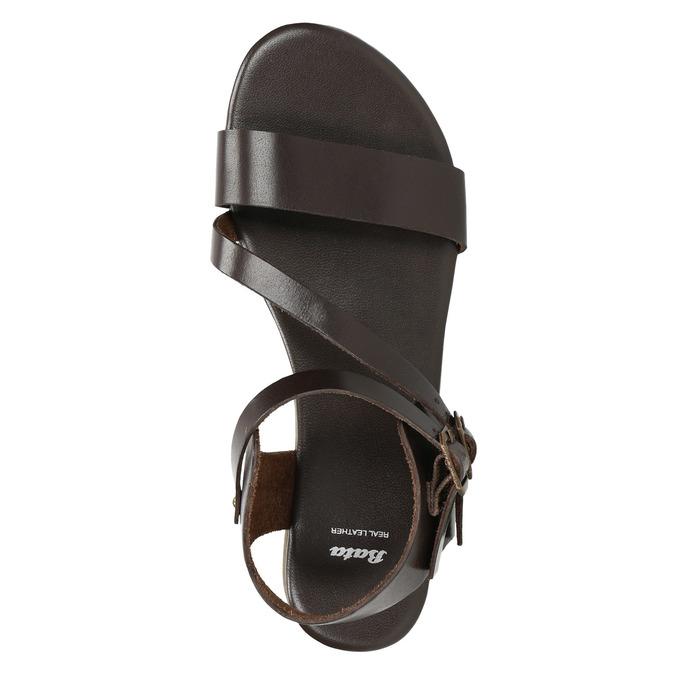 Brown leather sandals bata, brown , 566-4613 - 19