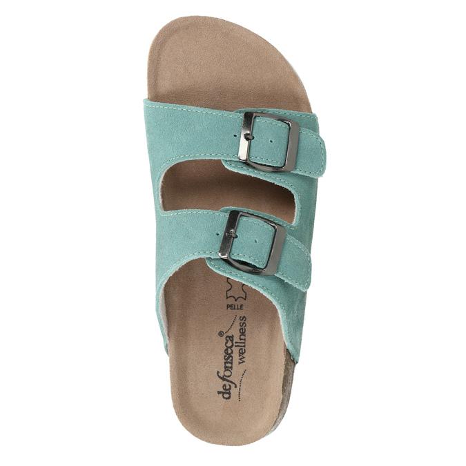 Blue leather sandals de-fonseca, turquoise, 573-7621 - 19