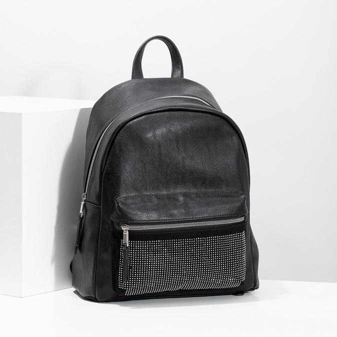 Black backpack with rhinestones bata, black , 961-6855 - 17