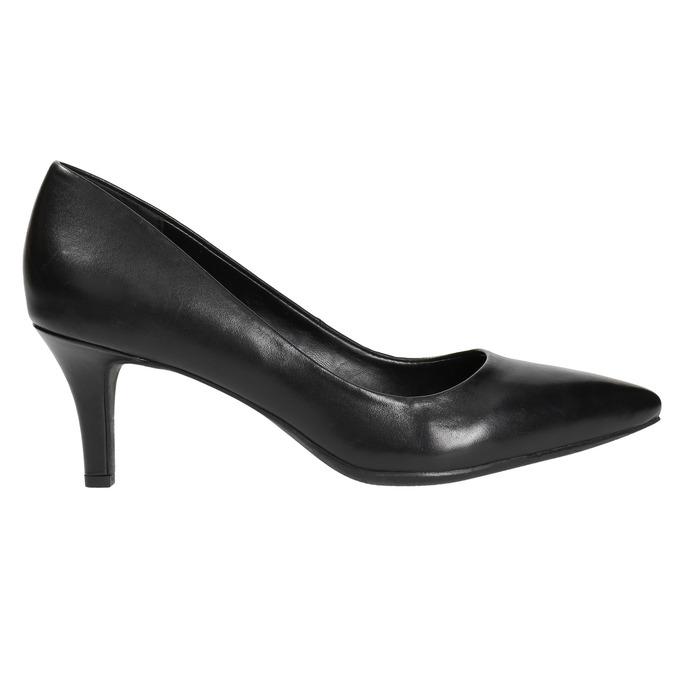 Ladies' leather pumps pillow-padding, black , 624-6642 - 15