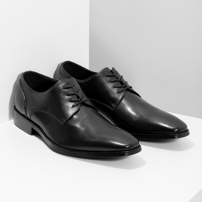 Black leather Derby shoes bata, black , 824-6405 - 26