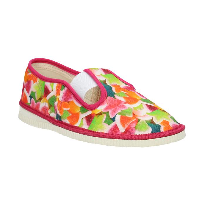 Children's patterned slip-ons bata, pink , 379-5125 - 13