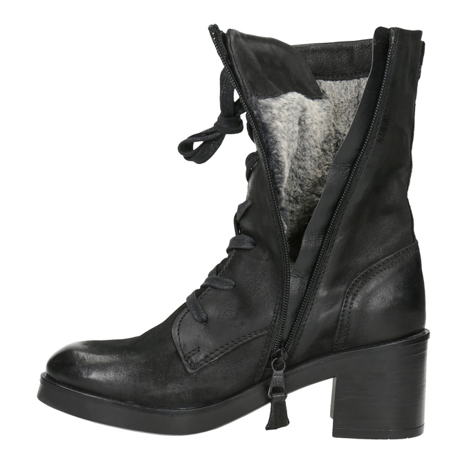Black Leather Ankle Boots bata, black , 696-6646 - 15