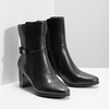 Leather ankle boots with heels bata, black , 696-6648 - 26
