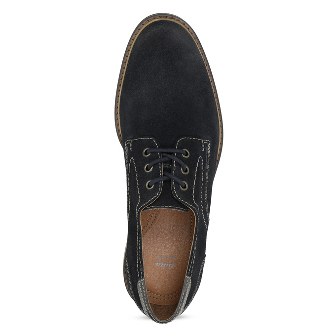 Blue leather shoes with stitching bata, blue , 823-9613 - 17