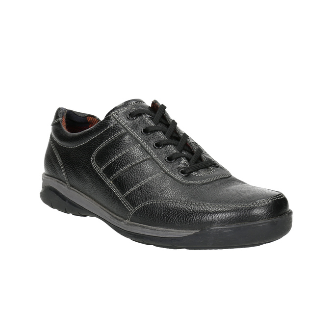 Men's leather sneakers bata, black , 824-6921 - 13