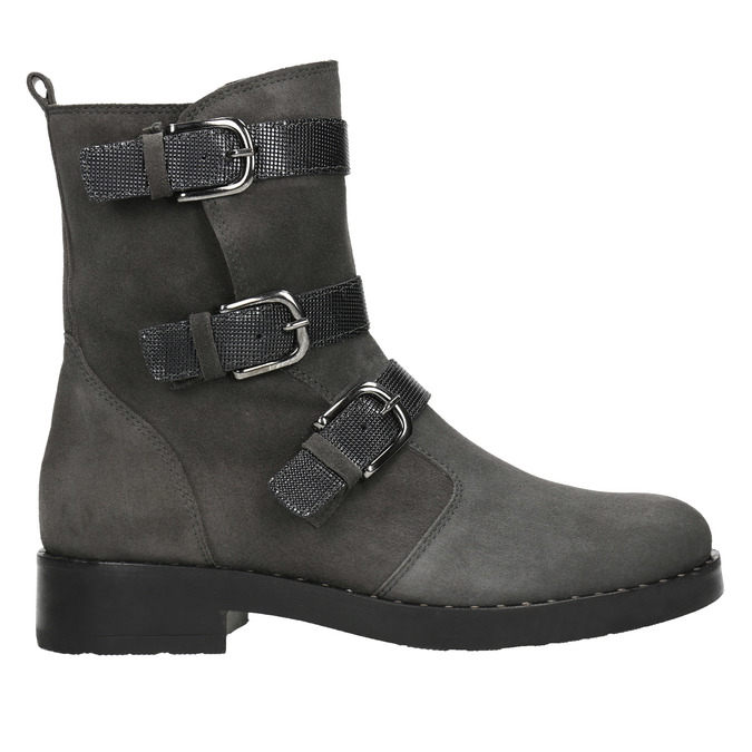 Ladies' high boots with buckles bata, gray , 593-2610 - 26